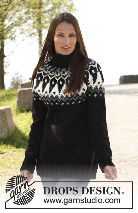 "Knitted DROPS jumper with round yoke in pattern in 1 thread ""Big Fabel"" or 2 threads"