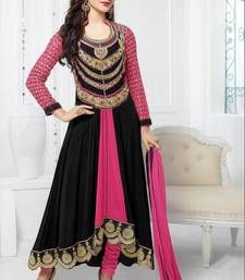 Buy Black  -  Pink embroidered georgette semi-stitched salwar with dupatta party-wear-salwar-kameez online