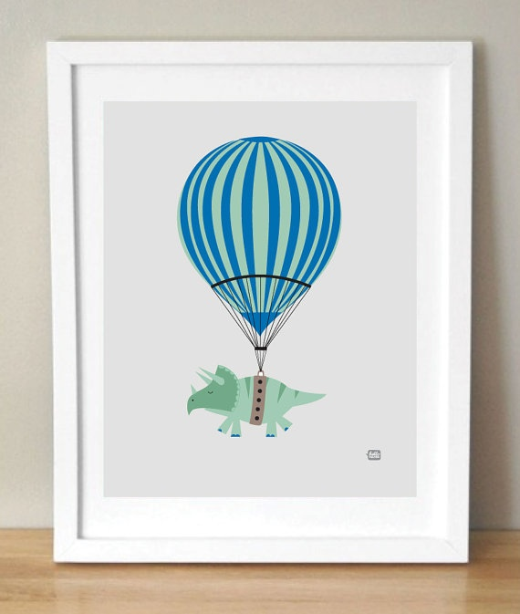Hot Air Dinosaur Print 10x8 by HelloFelton on Etsy, $20.00  Perfect for a baby or toddler's room. Cute nursery wall decor.