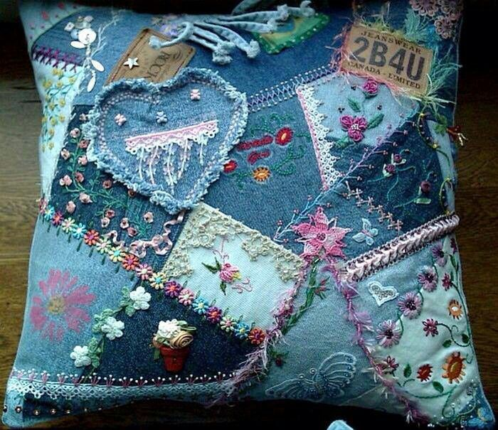 Crazy Quilted Denim Cushion - extraordinarie!