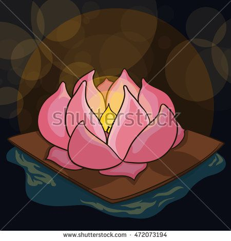 Beauty lotus floating in the river of souls guide the ancestors spirits in the…