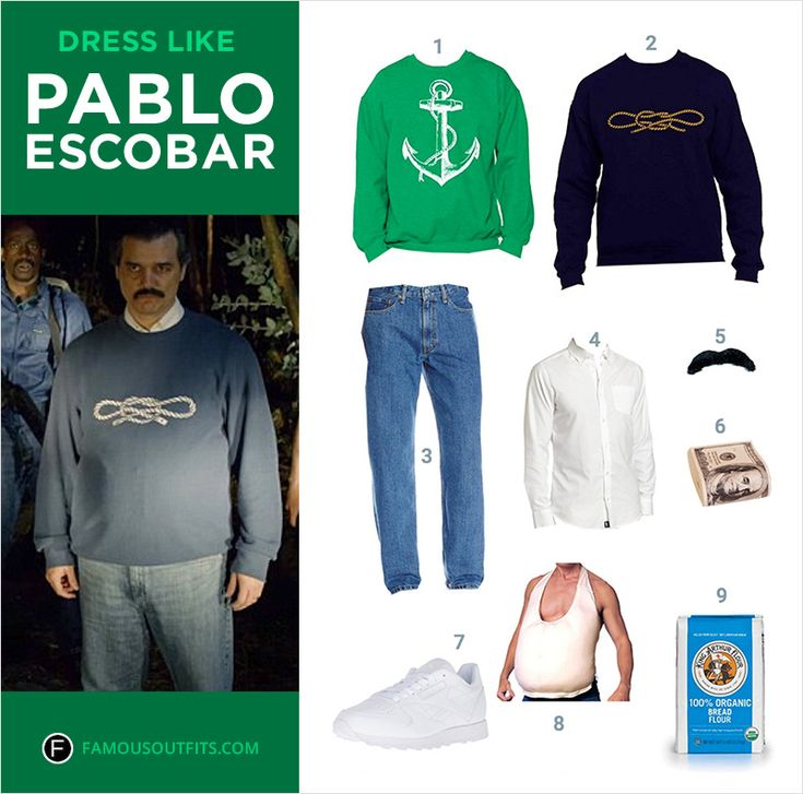 "Become the leader of the Medellín Cartel dressed as ""The King of Cocaine"" Pablo Escobar from the TV show Narcos on Netflix."