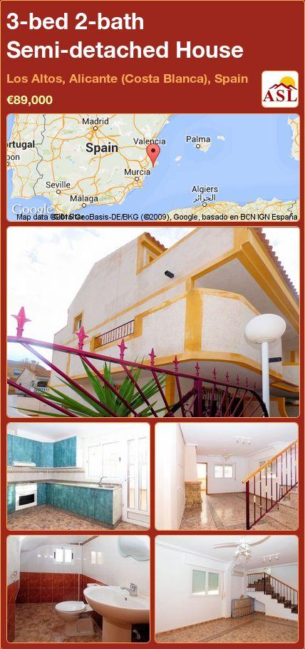 3-bed 2-bath Semi-detached House in Los Altos, Alicante (Costa Blanca), Spain ►€89,000 #PropertyForSaleInSpain