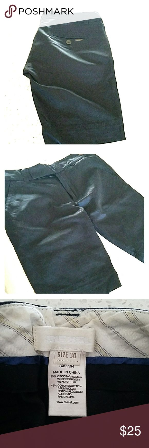 Womens black Diesel dress shorts Raw silk, muted satin look and feel. Size 30 but fit like a 28 or snug 29. No fading, snags or holes. Diesel Shorts