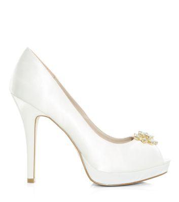 White Diamante Embellished Peeptoe Heels