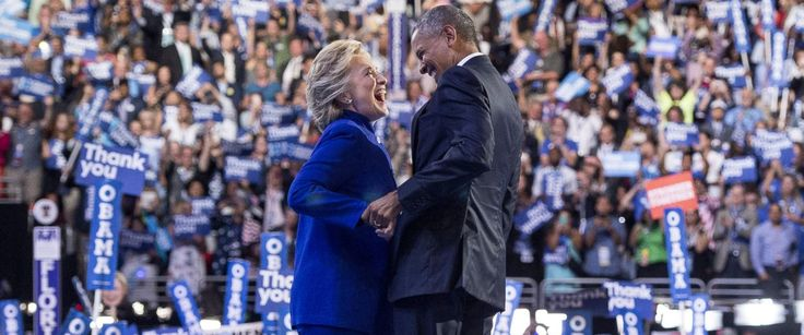 Headline: President Obama Tweets Praise for Hillary Clinton's Debate Performance Caption: President Barack Obama is joined by US Democratic presidential candidate Hillary Clinton after his address to the Democratic National Convention at the Wells Fargo Center in Philadelphia, July 27, 2016. URL: http://abcnews.go.com/Politics/president-obama-tweets-praise-hillary-clintons-debate-performance/story?id=42704217