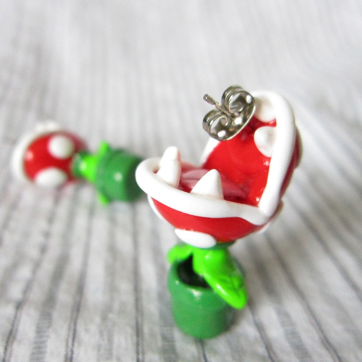 Piranha Plant earrings inspired from Mario Brothers. $26.00, via Etsy.