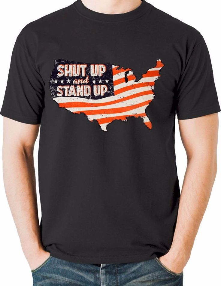 Patriotic T Shirt American Flag Stand Up National Anthem Sizes Small to 6XL Tall #PitStopShirtShop #GraphicTee