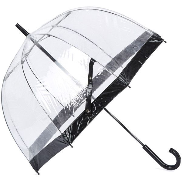 Fulton Birdcage Domed Umbrella (£20) ❤ liked on Polyvore featuring accessories, umbrellas, dome umbrella, see through umbrella, transparent umbrella, transparent dome umbrella and wood umbrellas