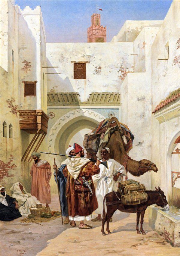 Albert Joseph Franke - A Gathering outside the City Walls