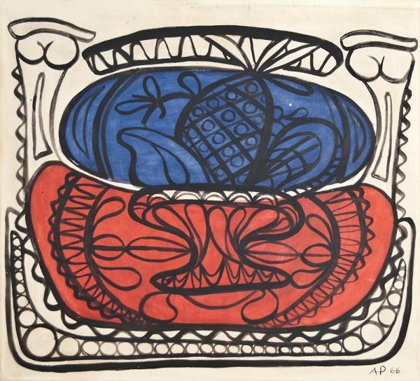 *AMELIA PELAEZ (1897-1968) - SANS TITRE, 1966 - Technique mixte sur cartoline - [...], Art Cubain Contemporain à Cornette de Saint Cyr Paris   Auction.fr