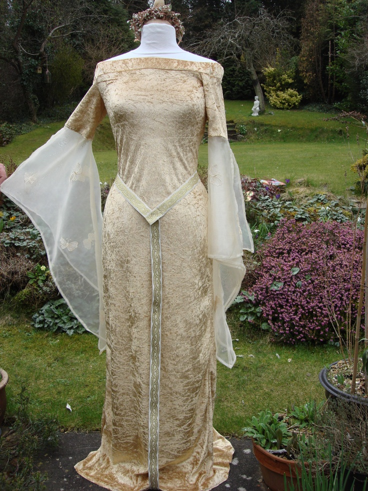 Gold Bespoke Fairy Pre Raphalite Renaissance Meval Pagan Handfasting Wedding Gown Dress 8 To 14