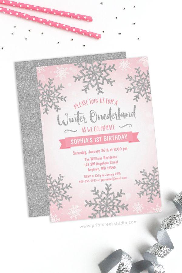 Pink Silver Winter Onederland 1st Birthday Invitations Winter