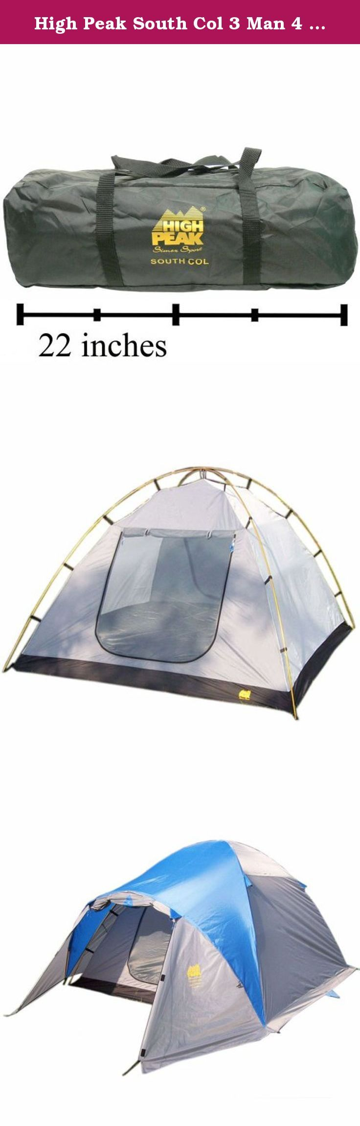 High Peak South Col 3 Man 4 Season Tent. This High Peak High Peak South Col 3000mm Waterproofing All-Season 3 person tent is the perfect way to lightly go wherever you want to go. Built to be compact for the avid hiker and backpacker, this tent is loaded. Premium quality tents like this don?t last at this far below retail. It features 2 entrances, spaces for 3 sleepers, inner tent pockets, a 100% polyester floor, and weighs only 9.7 pounds. This High Peak South Col compact tent is sure to...