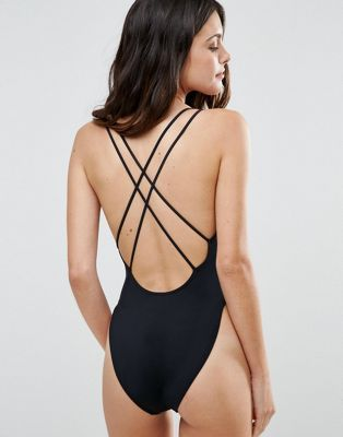 ASOS Cross Back High Leg Swimsuit Black One Piece $25 Swimsuit by ASOS Collection Plain swim fabric V neckline Non-padded cups Cross-over double strap design Low scoop back High-cut leg Hand wash 78% Polyamide, 22% Elastane PRODUCT CODE 922066