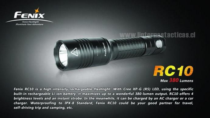 La estaban esperando y por fin llegó (junio) Fenix RC10 es una linterna recargable de alta intensidad. Con un LED Cree XP-G (R5), usa una bateria recargable especifica de Ion-Li y que viene incluida en la linterna, y permite una maravillosa salida de luz de 380 lúmenes. La RC10 ofrece 4 niveles de brillo y un modo estroboscópico. Puede ser cargada en la red electrica domiciliaria o en su auto. Cumple con el estandar IPX-8 que garantiza que puede sumergirse a 2 metros bajo el agua.