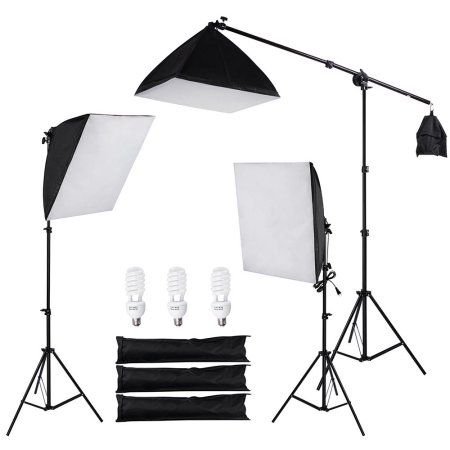 "$67.99 | Free Shipping. Buy 3x 24"" Photography Video Lighting Kit Softbox Stand 45W 5500K Day-Light Bulb w/ Bag Photo Studio Camera Shooting at Walmart.com"