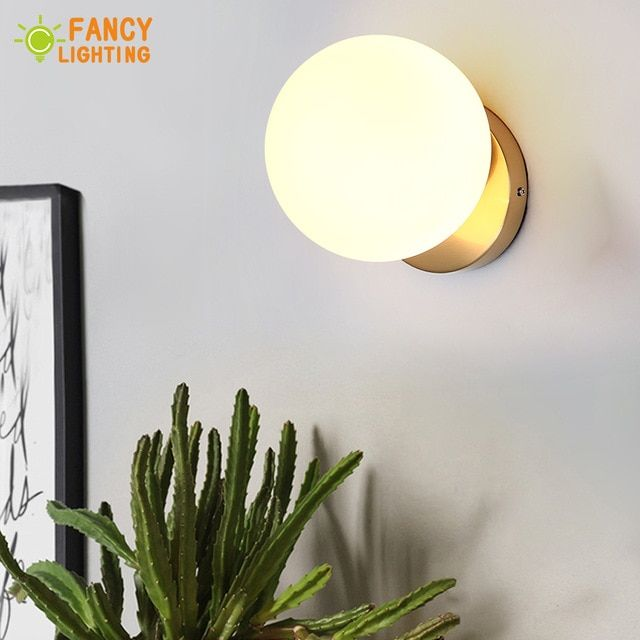 Bulb For Free Modern Wall Lamp Frosted Glass Shade Wandlamp For