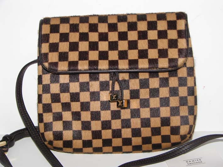 Louis Vuitton Damier Pony Hair Sauvage Gazelle Crossbody Waist Bag