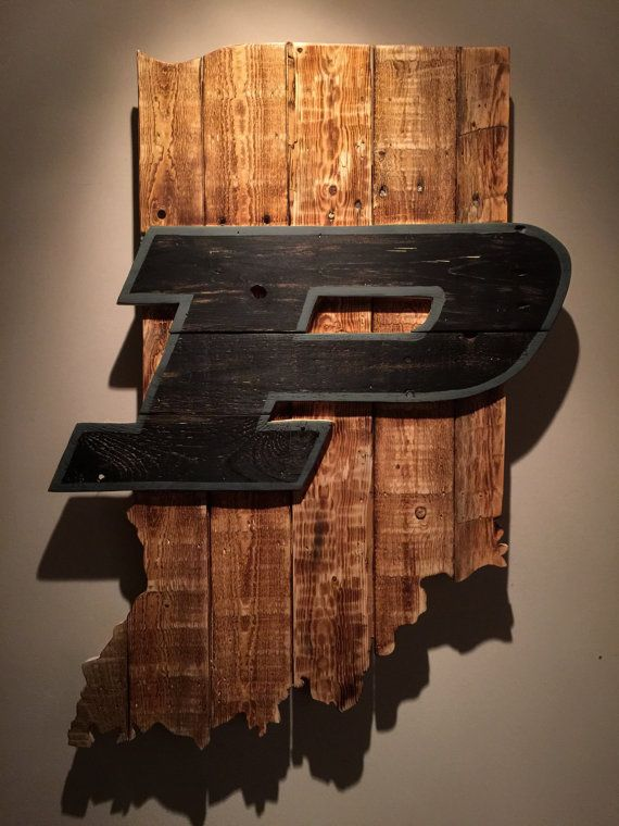 Wooden State of Indiana with Purdue logo by CampgroundProduction