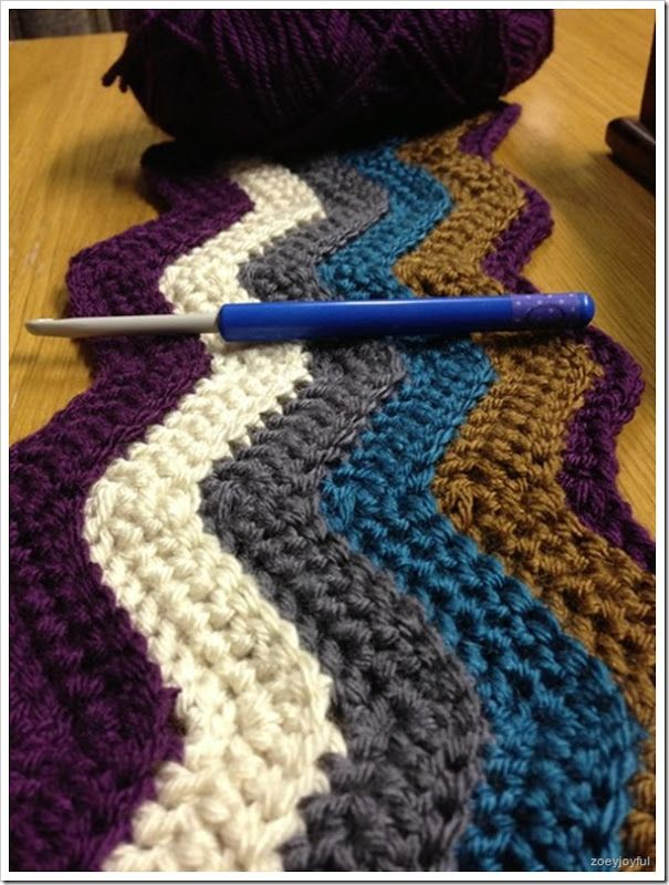 5.00mm crochet hook, 5 colours, three balls of each. I am using US crochet terms. This pattern yields a blanket of just under 90cm in width...