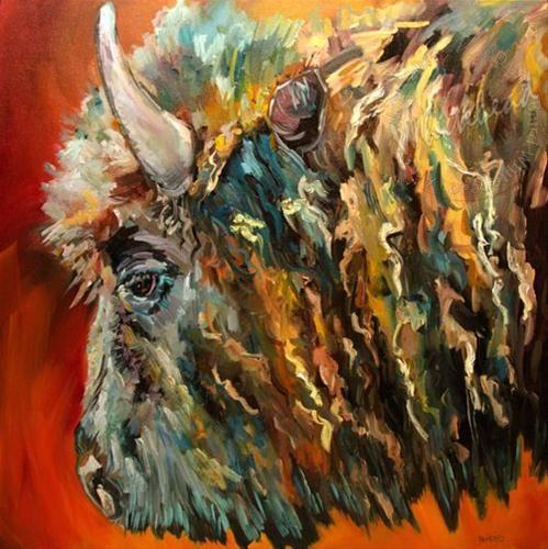 Bison wild life animal art diane whitehead artoutwest for Original fine art for sale