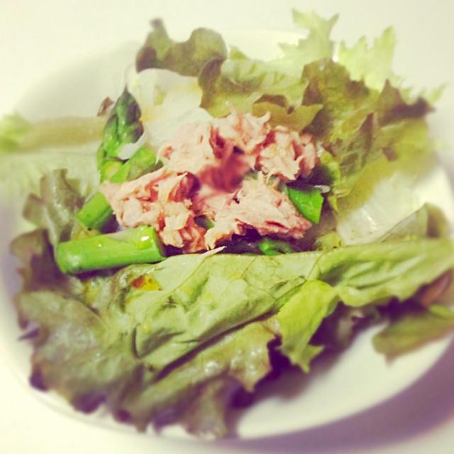 サニーレタス、ツナ、タマネギ、アスパラガスのサラダ - 4件のもぐもぐ - サニーレタスのサラダ by shiro0913