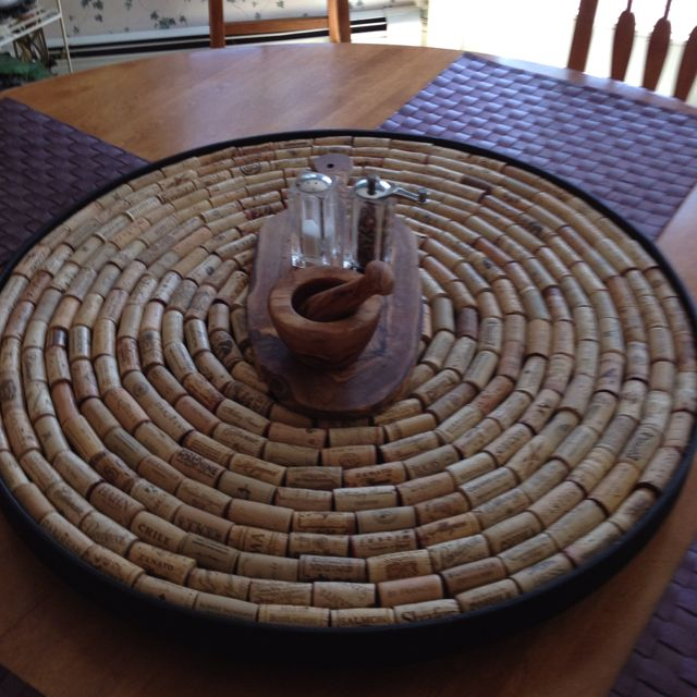 DIY wine cork lazy susan! Kim weren't you collecting corks at one time?