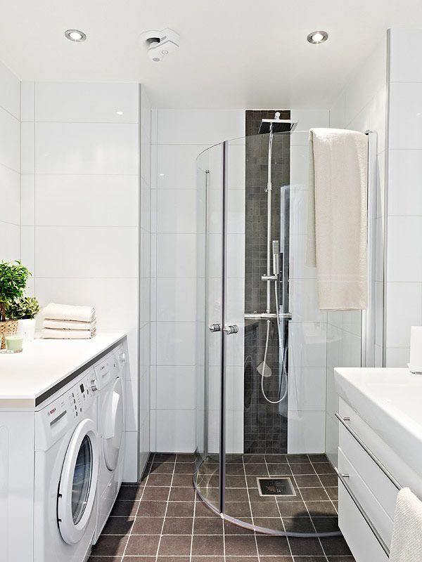 Shower Laundry Combo Like The Idea Of Floor To Ceiling Large Tile In The