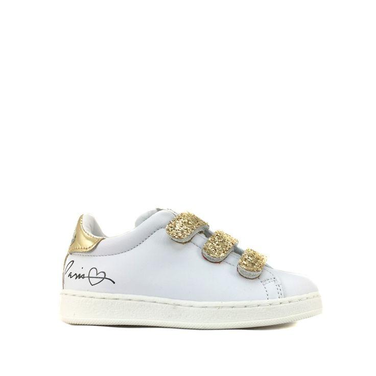 Kinderschoen online HIP sneaker Witte sneaker met gouden glitter accent
