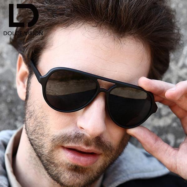 5044dc7ef8f FuzWeb DOLCE VISION Black Pilot Sunglasses Men Classic For Men High Quality  Shades Original Female Oculos