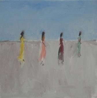British Artist Ann SHRAGER - Ladies in Saris