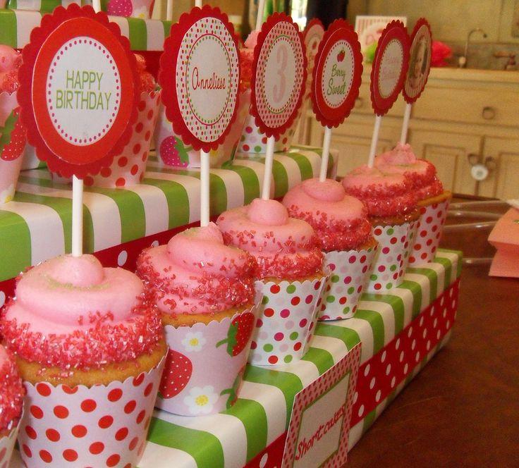 Strawberry Shortcake Birthday Party Cupcakes