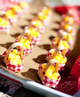 Lemonhead Candy in little picnic baskets.