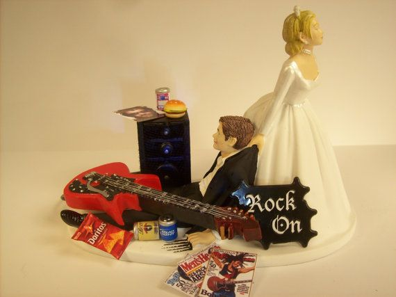 No more ROCKIN Red GUITAR Funny Wedding Cake Topper Rockstar Rocker Bride and Groom Rock n Roll Groom's Cake with Amp