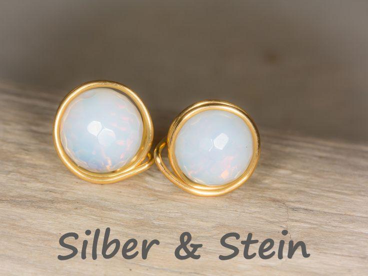 Opalith Ohrstecker gold von Silber & Stein auf DaWanda.com