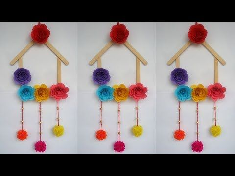 Diy Ice Cream Stick Crafts How To Make Wall Hanging With Ice Cream Stick Popsicle Stick Yout Craft Stick Crafts Ice Cream Stick Craft Popsicle Crafts