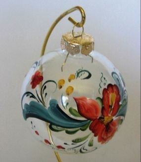 Rosemaling folk art Christmas ornament