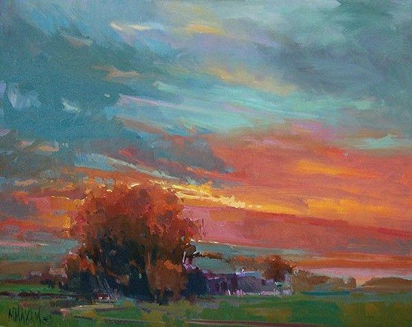 Golden View Oil Painting Landscape Sunset Sunrise Mary Maxam Painting Abstract Painting Oil Painting Inspiration