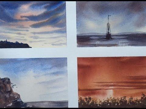 Акварель.-Краски. часть1. Для начинающих. 4 картины тремя красками.Water...
