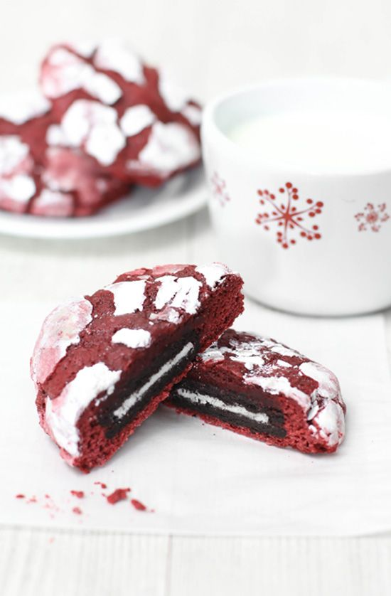 """Sprinkle Bakes: Oreo-Stuffed Red Velvet Crinkles (Made these tonight without the Oreos inside and they're BOMB; delicious and flavorful: taste like hot chocolate and s'mores. I scaled the recipe to 3/4 and made about 3 dozen small cookies (~2"""" dough balls)."""