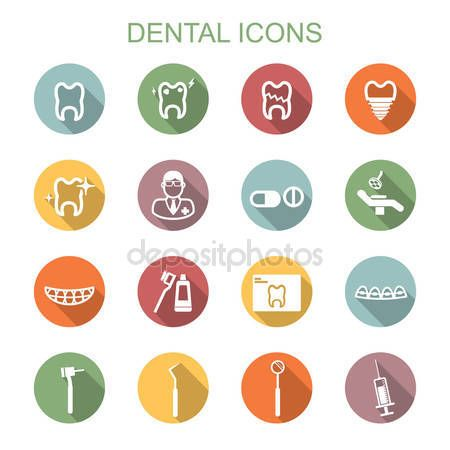 Скачать - Зубные длинные теневые символы — стоковая иллюстрация #57782587
