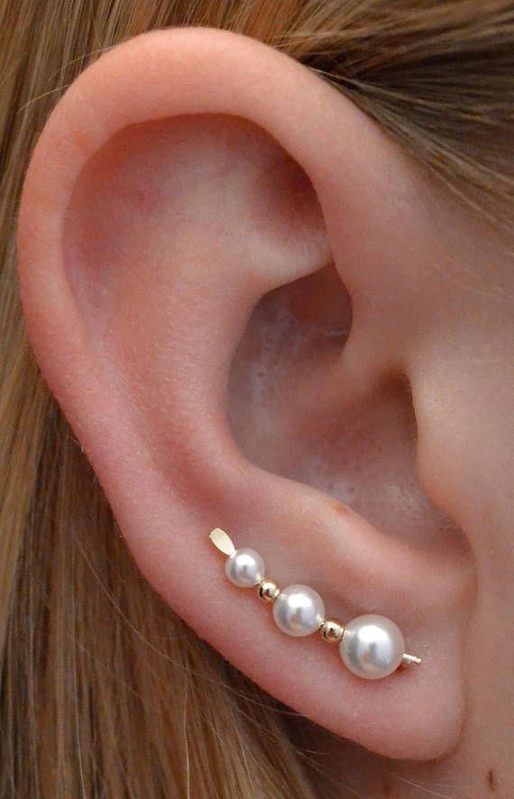 Medium Ear CrawlerClimber Stacked Freshwater Pearl Bar Earrings