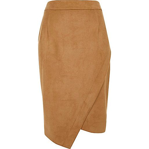 Faux suede fabric Asymmetric wrap design Stitched in waistband Pencil skirt 