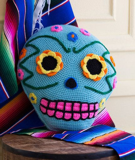 Day of the Dead Pillow Free Crochet Pattern in Red Heart Yarns