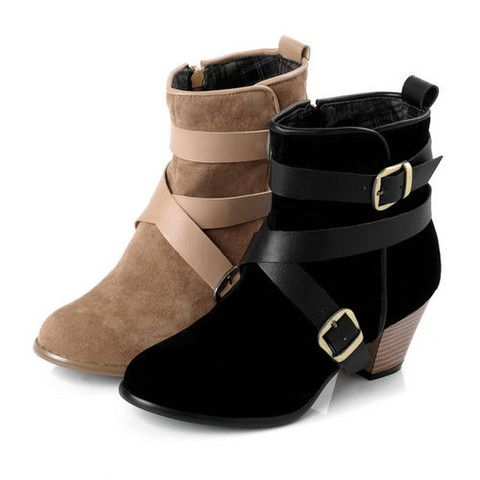 Solid Round Toe Buckle Strap Low Heel Ankle Boots