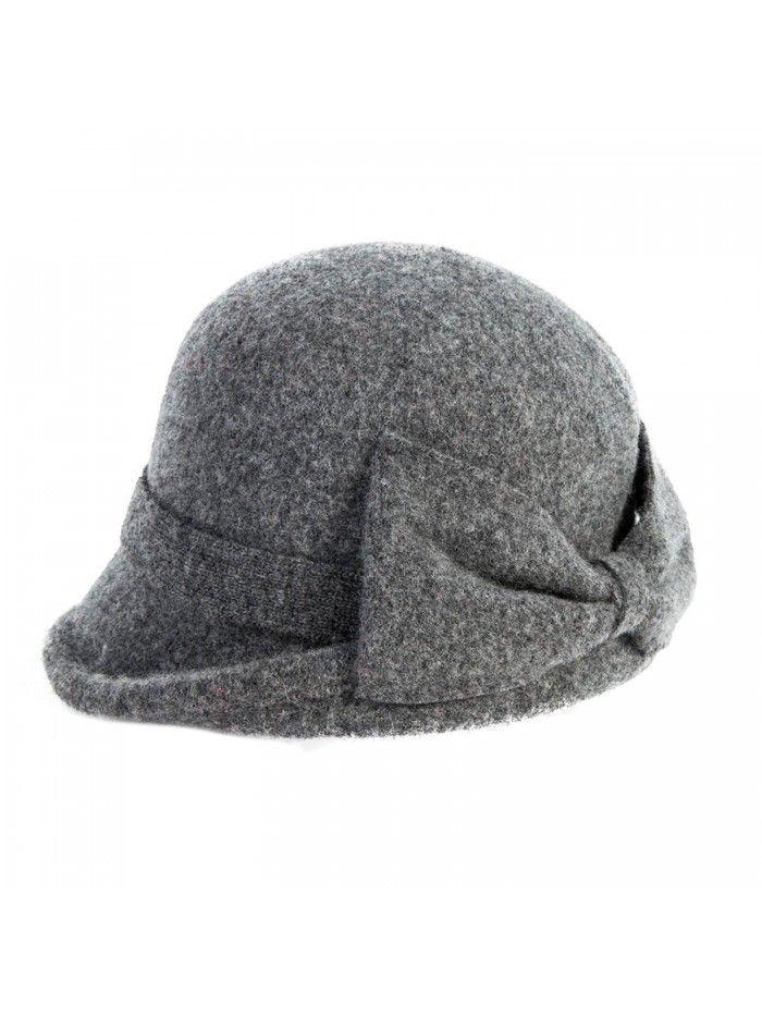 Womens 1920s Vintage Wool Felt Cloche Bucket Bowler Hat Winter Crushable – 16209_grey – C512MYCY69F
