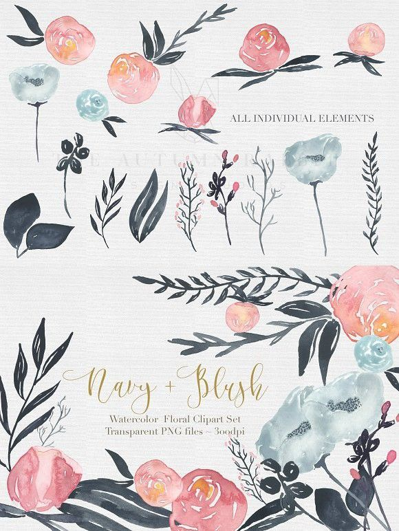 Navy Blush Watercolor Clipart Set With Images Blush