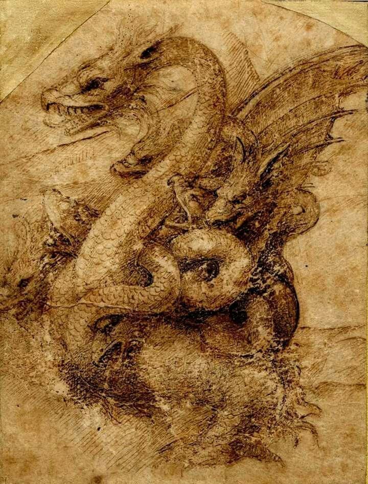 The Seven Headed #Dragon, formerly attributed to Amico Aspertini, now attributed to Leonardo da Vinci (Testimone del Fuoco)