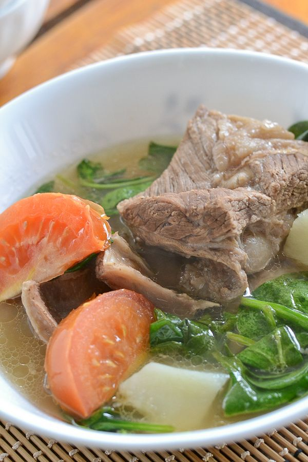 BEEF SHORT RIBBEEF SHORT RIBS IN LEMON SOUP = 4 lbs beef short ribs or beef shank or beef brisket 1 large potato, peeled and cubed 4T soy sauce Juice of 2-3 lemons     2 tomatoes  A handful or two of baby spinach     Salt to taste ====